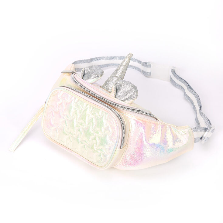 Iridescent Quilted Unicorn Bum Bag - White,