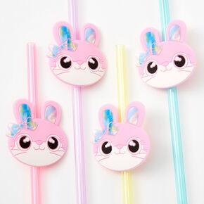 Pastel Rainbow Plastic Bunny Straws - 4 Pack,