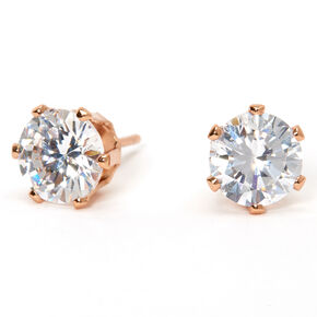 18kt Rose Gold Plated Cubic Zirconia Round Stud Earrings - 8MM,