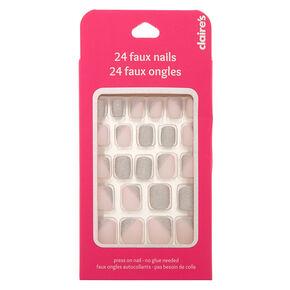 Asymmetrical Glitter Press On Faux Nail Set - Pink, 24 Pack,