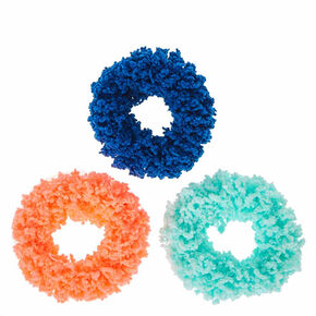 Small Hot Pink & Blue Fuzzy Hair Scrunchies - 3 Pack,