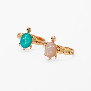 Best Friends Glow in the Dark Faux Opal Turtle Rings - 2 Pack,