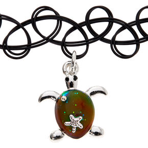 Mood Turtle Tattoo Choker Necklace - Black,