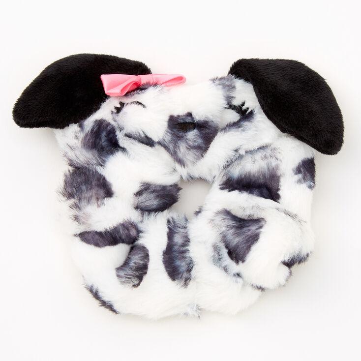 Medium Faux Fur Dalmatian Hair Scrunchie,