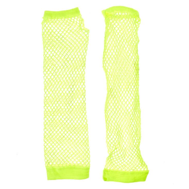 Neon Yellow Fishnet Arm Warmers,