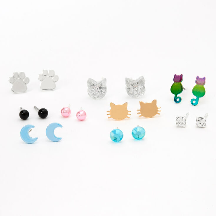 Cat Mix Stud Earrings - 9 Pack,