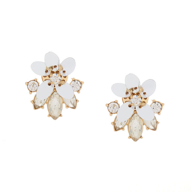 d6fab133f Gold Sequin Flower & Glass Rhinestone Stud Earrings | Claire's US