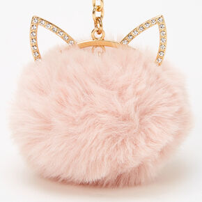 Gold Pom Pom Cat Keyring - Blush Pink,