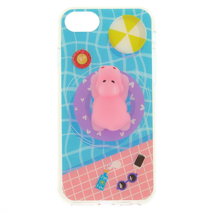 Pool Side Hippo Squishy Phone Case - Fits iPhone 6/7/8