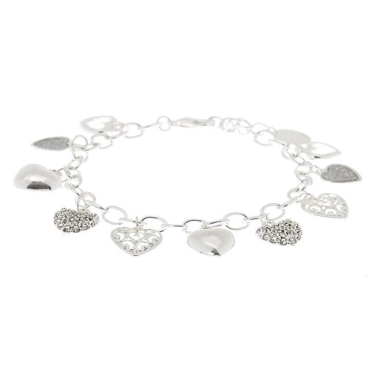 Bracelet à breloques cœur couleur argenté,