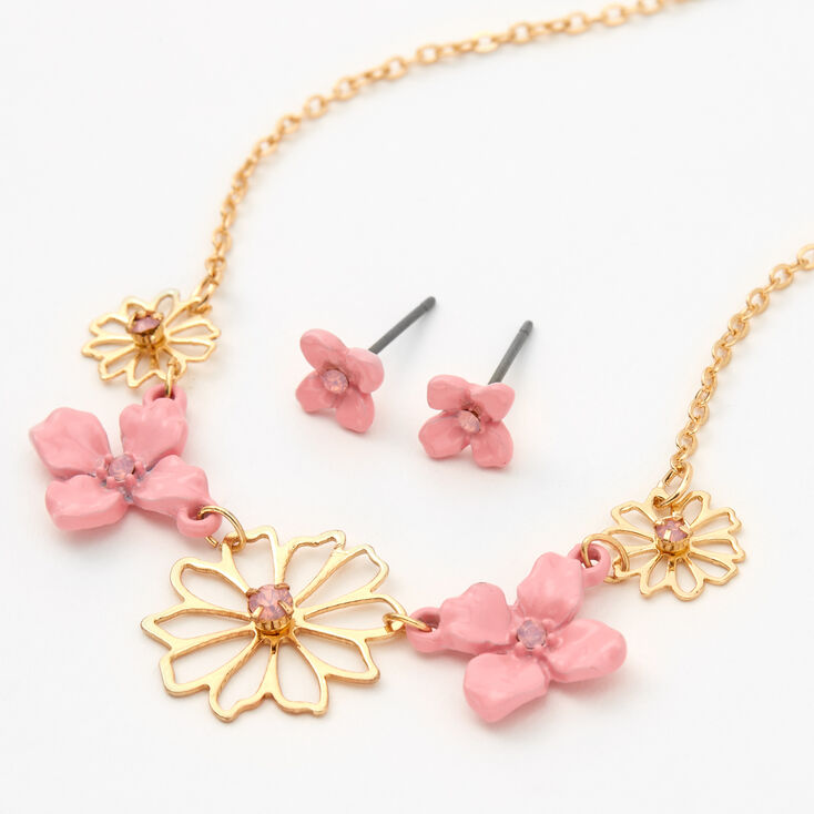 Gold & Pink Flowers Jewelry Set - 2 Pack,