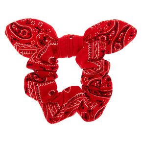 Small Bandana Knotted Bow Hair Scrunchie - Red,