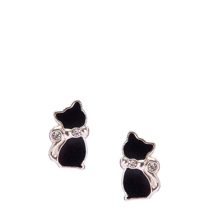 Sterling Silver Crystal Black Cat Earrings,