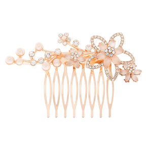 Rose Gold Frosted Floral Hair Comb - Pink,