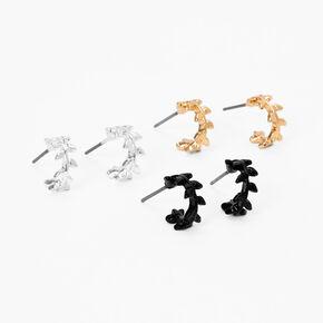 Mixed Metal 10MM Leaf Hoop Earrings - 3 Pack,