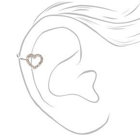 Silver Embellished Rhinestone Heart Ear Cuff,