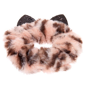 Medium Faux Fur Leopard Ears Hair Scrunchie - Pink,