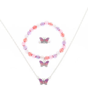 Claire's Club Glitter Butterfly Jewellery Set - Pink, 3 Pack,