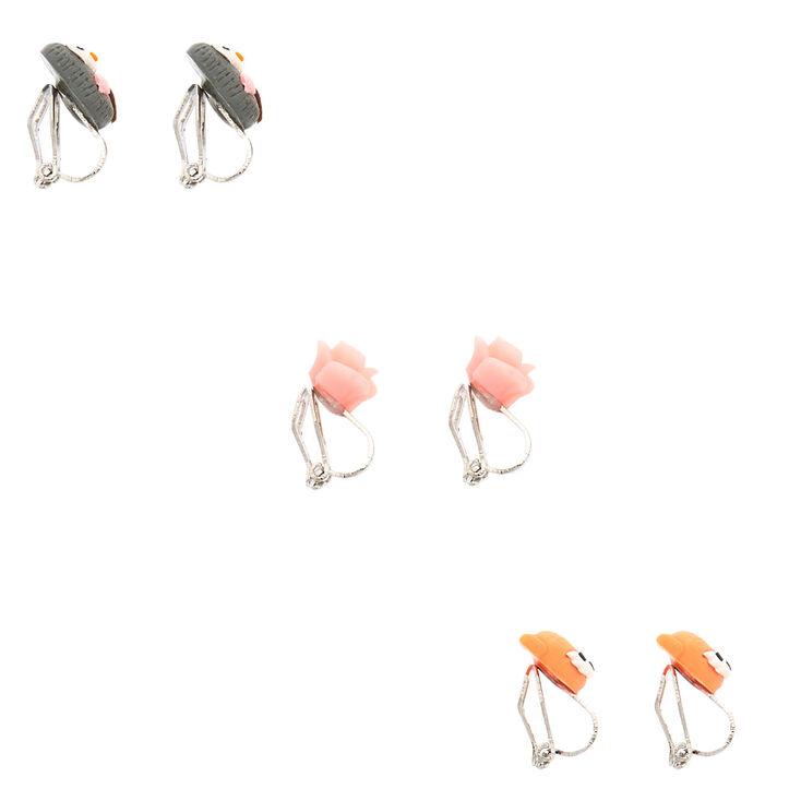 Boucles d'oreilles à clip chouette, renard et rose - Lot de 3,