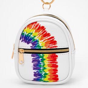 Rainbow Tie Dye Mini Backpack Keychain - White,