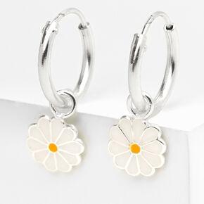Sterling Silver 10MM Daisy Charm Hoop Earrings,