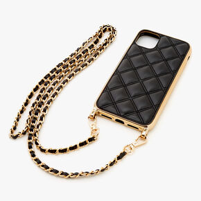Black Quilted Phone Case with Gold Chain - Fits iPhone 11,