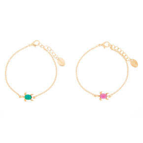 Gold Mood Turtle Chain Friendship Bracelets - 2 Pack,
