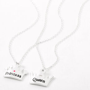 Best Friends Queen Princess Tiara Pendant Necklaces - 2 Pack,