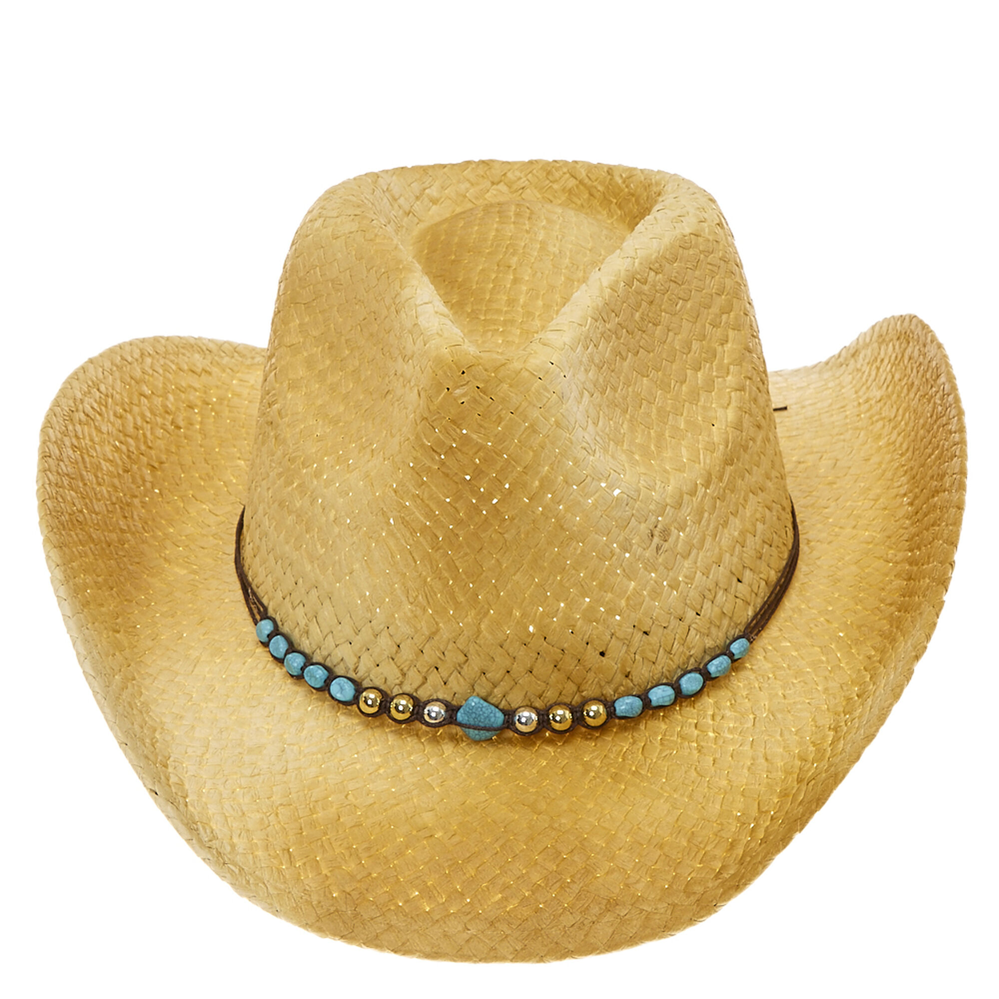 f211226b89fa6a Turquoise Stone Bead Straw Cowboy Hat | Claire's US