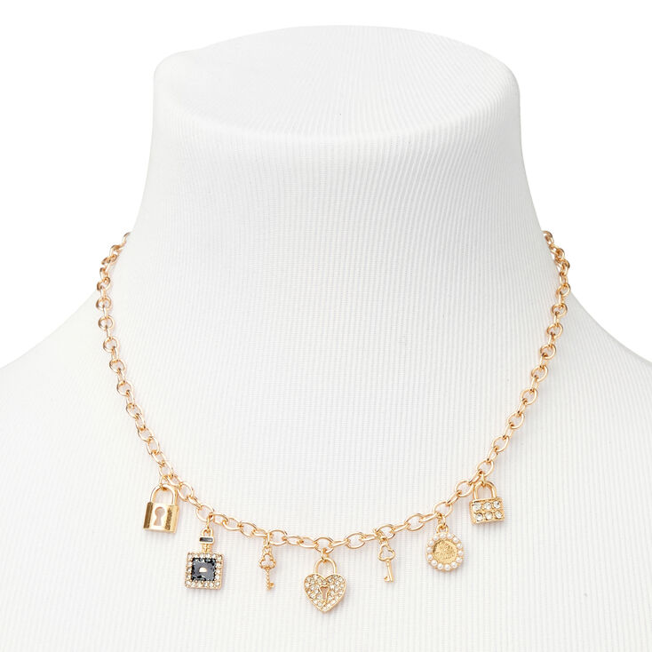 Collier à pendentif chaîne volumineuse clé de mon cœur couleur dorée,