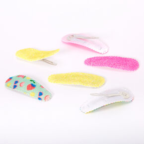 Claire's Club Glitter Fruit Scalloped Snap Hair Clips - 6 Pack,