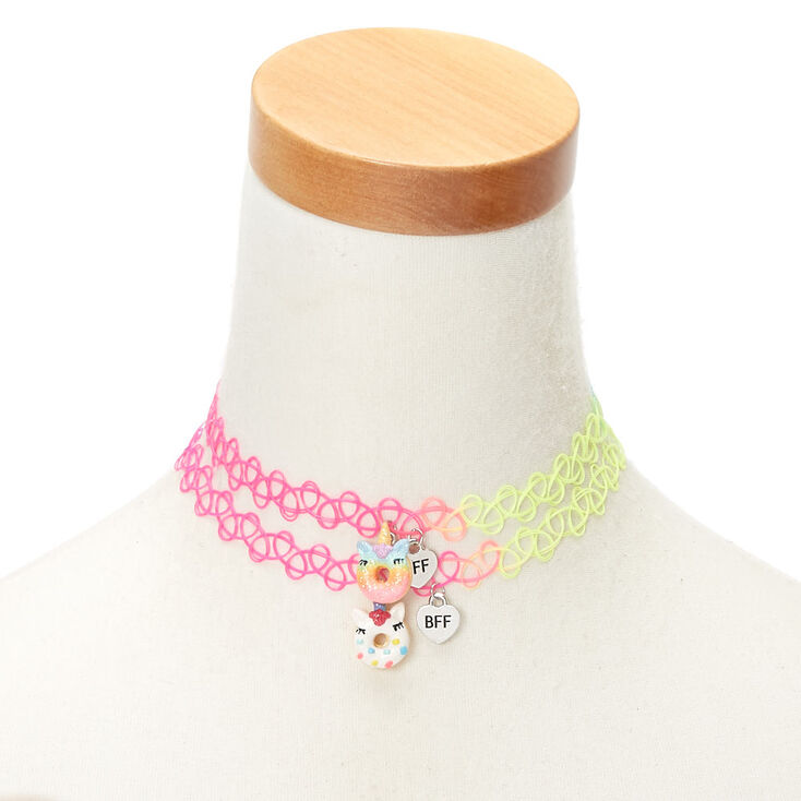 Best Friends Neon Donut Tattoo Choker Necklaces - 2 Pack,