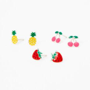 Sterling Silver Summer Fruits Stud Earrings - 3 Pack,