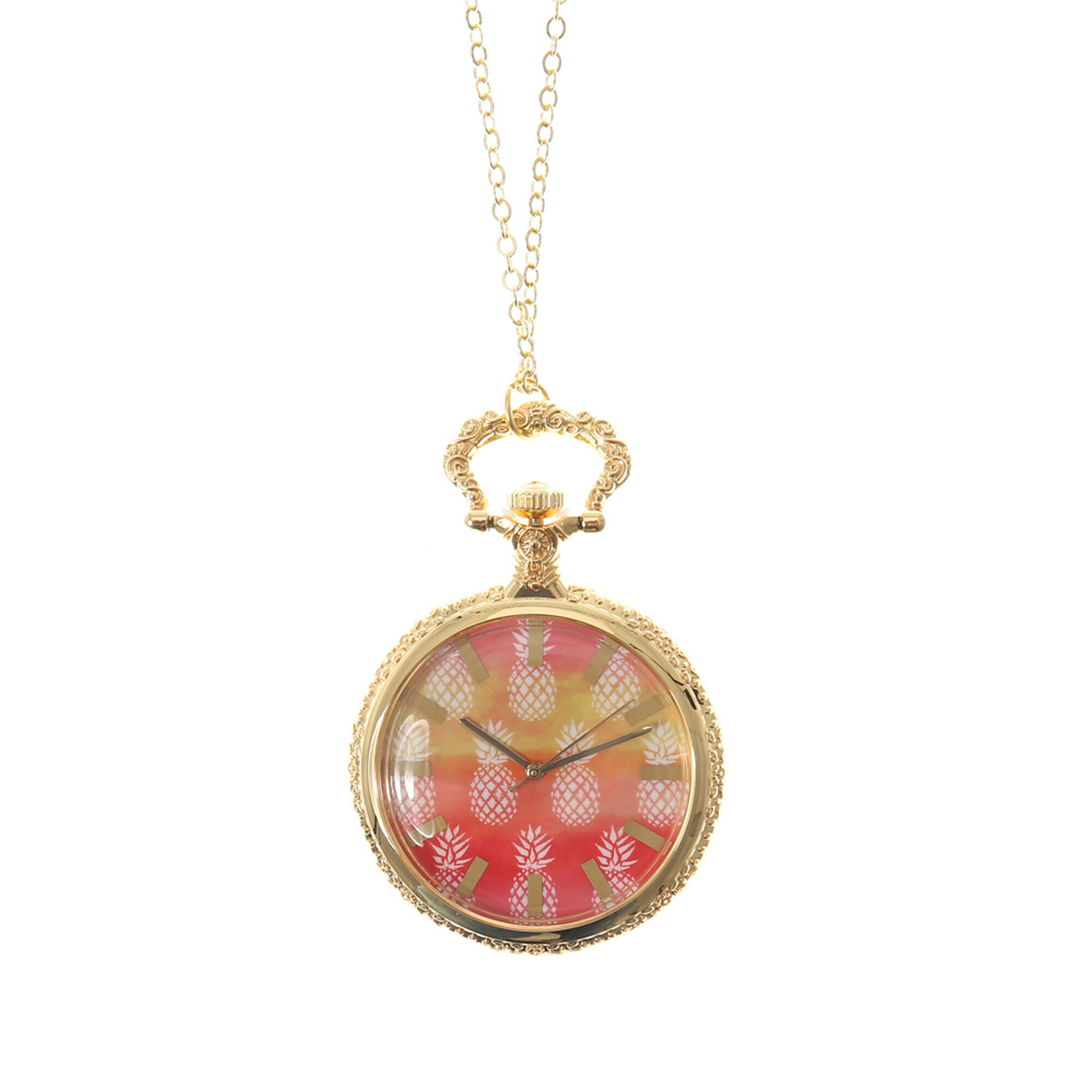 Gold Pineapple Print Watch Chain Necklace
