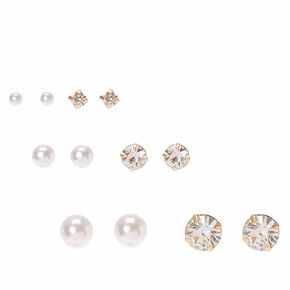 Gold Pearl and Crystal Graduated Stud Earrings - 6 Pack,