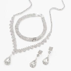 Silver Cubic Zirconia Teardrop Jewelry Set - 3 Pack,