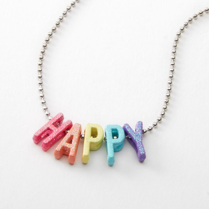 Happy Neon Rainbow Pendant Necklace,