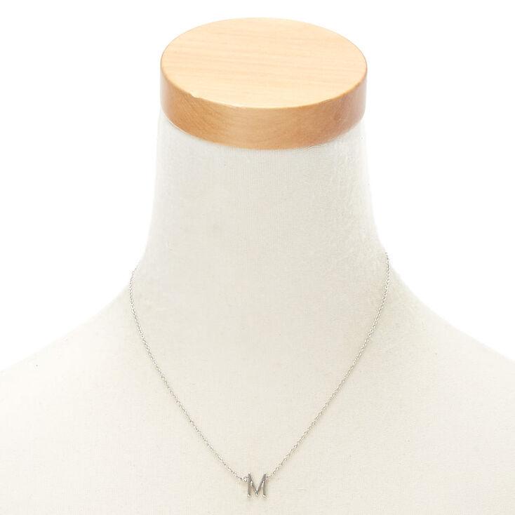 Collier à pendentif initiale avec strass couleur argentée - M,