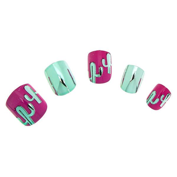 Claire's - metallic cactus faux nail set - 1