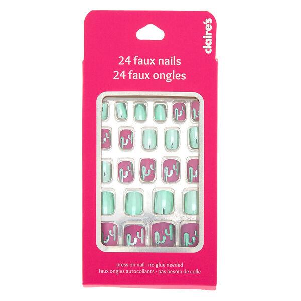 Claire's - metallic cactus faux nail set - 2
