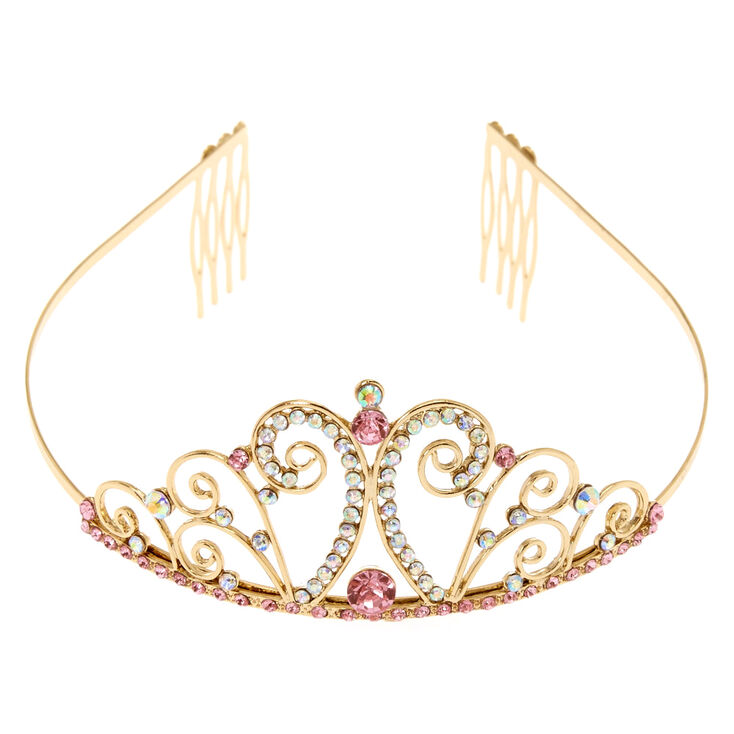 Claire's Club Crystal Tiara - Gold,