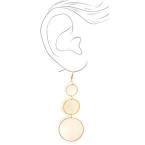 "Gold 3"" Round Seashell Trio Drop Earrings - White,"