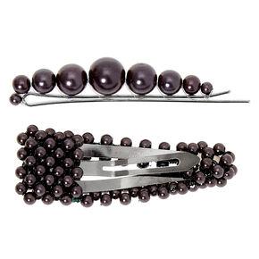 Hematite Beaded Hair Pin & Snap Clip - Black, 2 Pack,