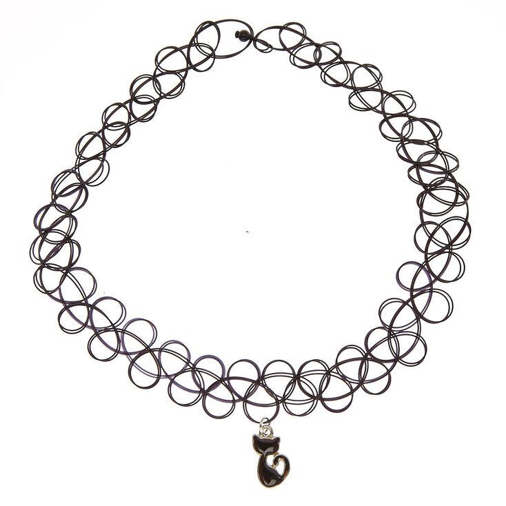 Cat Mood Pendant Tattoo Choker Necklace - Black,