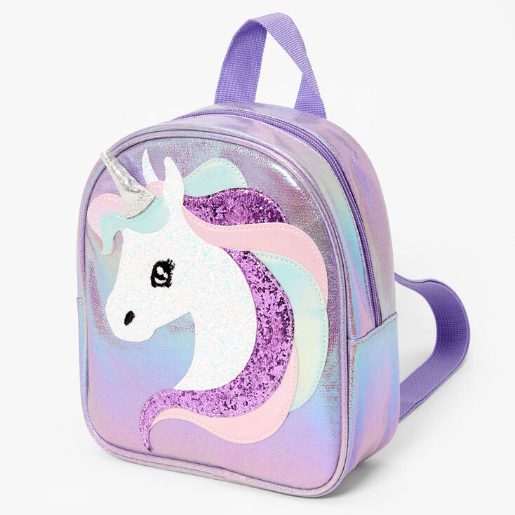 Claire's Club Iridescent Unicorn Mini Backpack - Lilac,