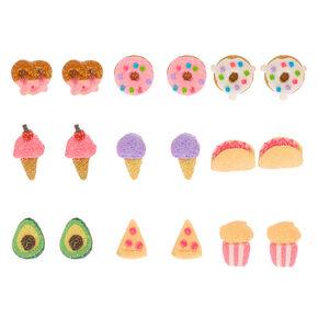 Glitter Snacks Stud Earrings - 9 Pack,