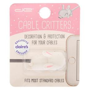 Protège-câble petit animal lapin blanc,