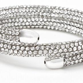 Silver Pave Crystal Coil Wrap Bracelet,