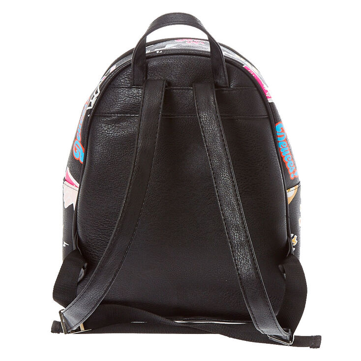 Sassy Patches Faux Leather Backpack - Black,