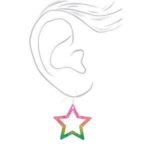"1.5"" Rainbow Star Drop Earrings,"